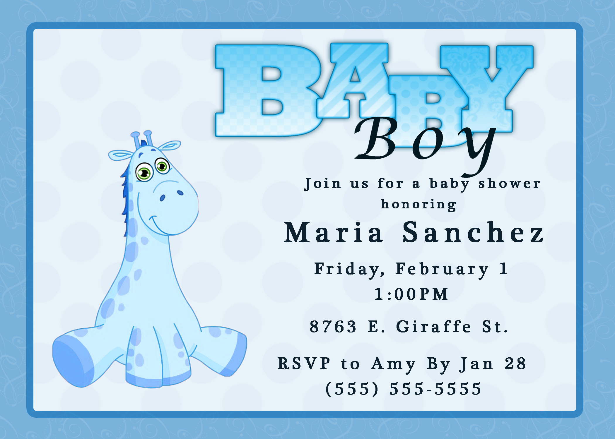 Baby Boy Shower Border