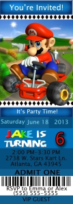 Mario Ticket Style 1 Birthday Invitation