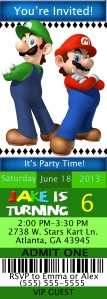 Mario Ticket Style 2 Birthday Invitation