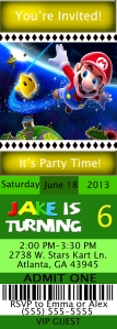 Mario Ticket Style 3 Birthday Invitation