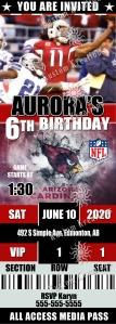 NFL Arizona Cardinals Ticket 3 Birthday Invitation