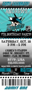 NHL San Jose Sharks Ticket Birthday Invitation