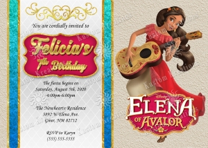 Elena of Avalor 5 Birthday Invitation